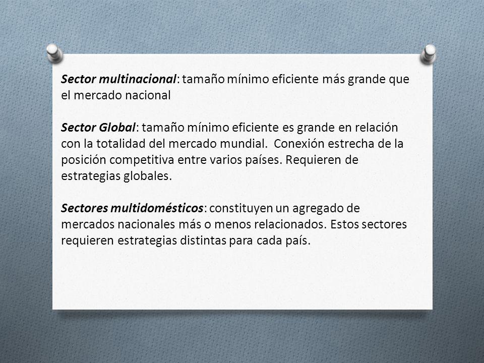Sector multinacional: tamaño mínimo eficiente más grande que el mercado nacional.