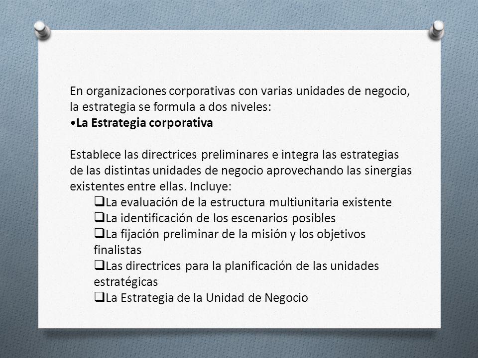 En organizaciones corporativas con varias unidades de negocio, la estrategia se formula a dos niveles: