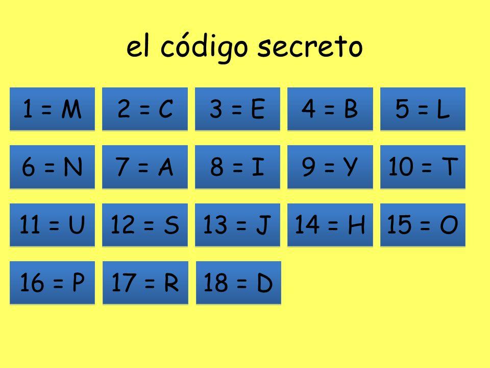 el código secreto 1 = M 2 = C 3 = E 4 = B 5 = L 6 = N 7 = A 8 = I