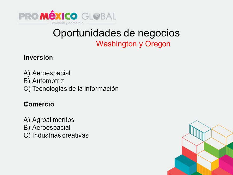 Oportunidades de negocios Washington y Oregon