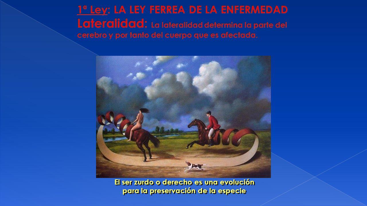 1ª Ley: LA LEY FERREA DE LA ENFERMEDAD Lateralidad: La lateralidad determina la parte del cerebro y por tanto del cuerpo que es afectada.