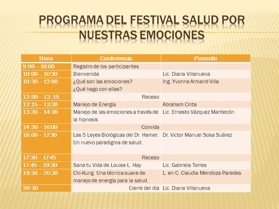Programa del festival salud por nuestras emociones