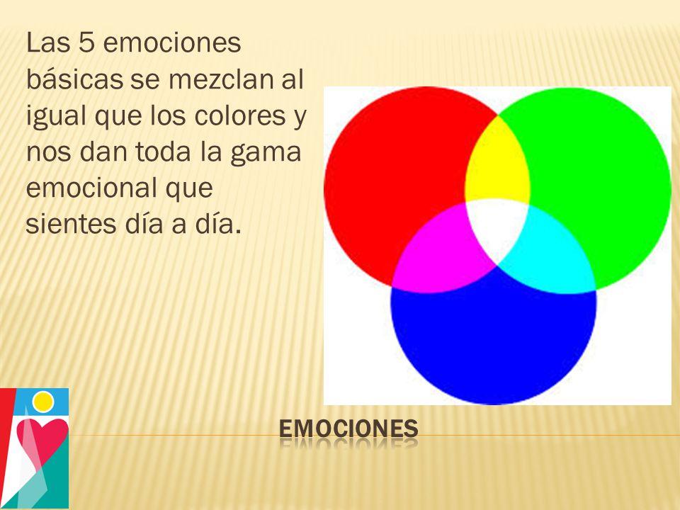 Las 5 emociones básicas se mezclan al igual que los colores y nos dan toda la gama emocional que sientes día a día.