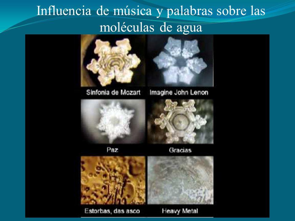 Influencia de música y palabras sobre las moléculas de agua