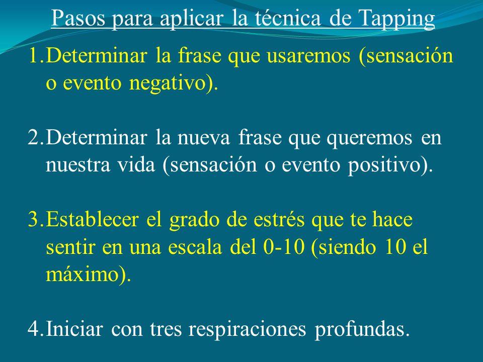 Pasos para aplicar la técnica de Tapping