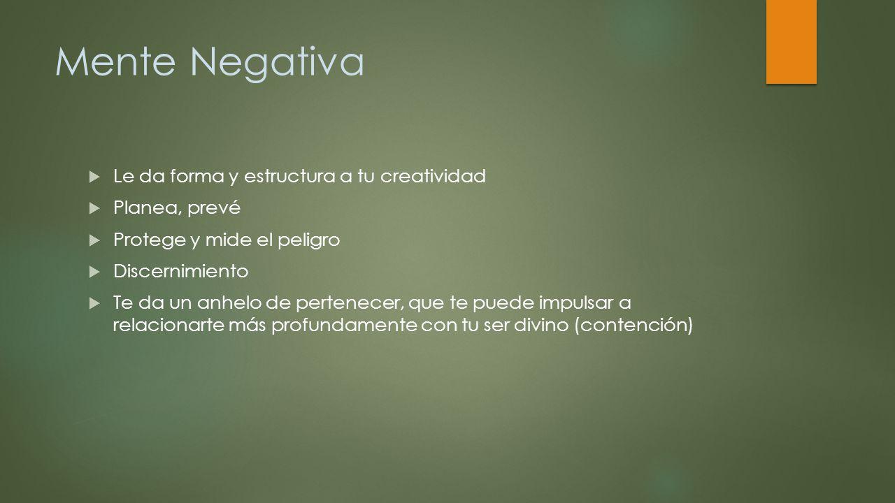 Mente Negativa Le da forma y estructura a tu creatividad Planea, prevé
