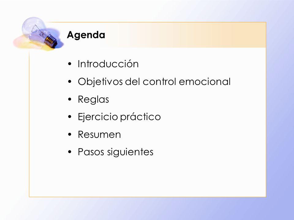Objetivos del control emocional Reglas Ejercicio práctico Resumen