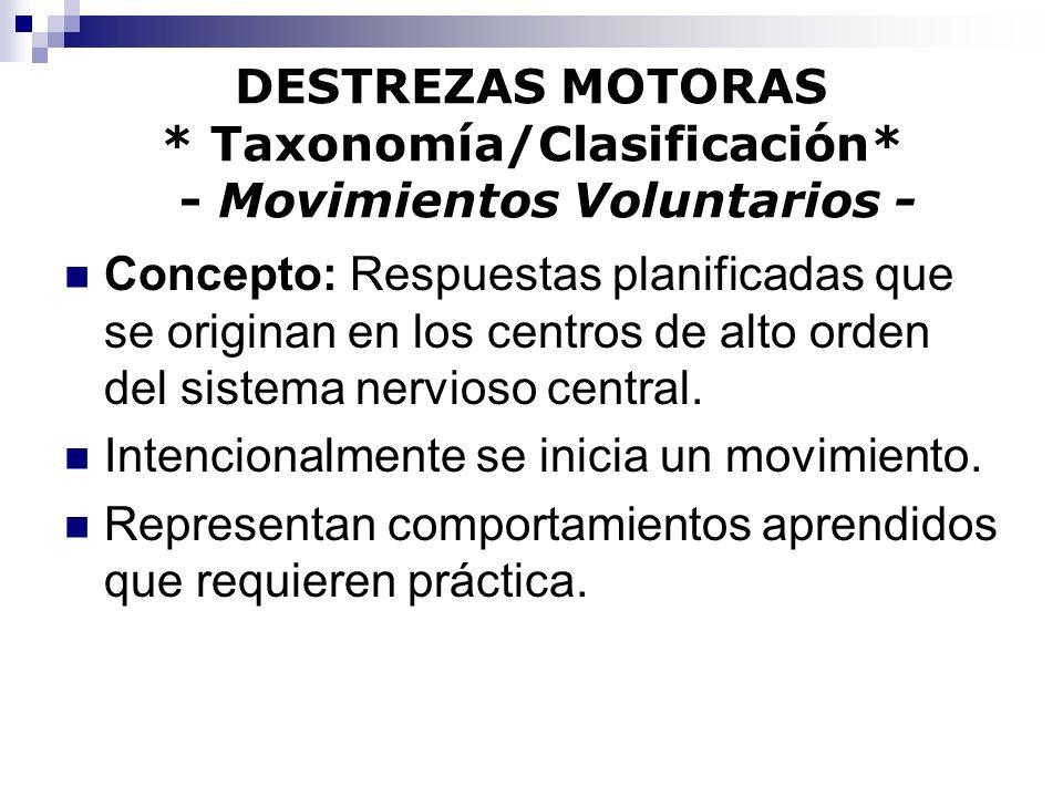 DESTREZAS MOTORAS * Taxonomía/Clasificación* - Movimientos Voluntarios -
