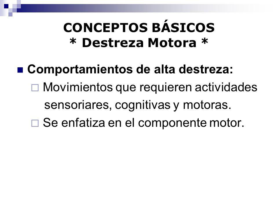 CONCEPTOS BÁSICOS * Destreza Motora *