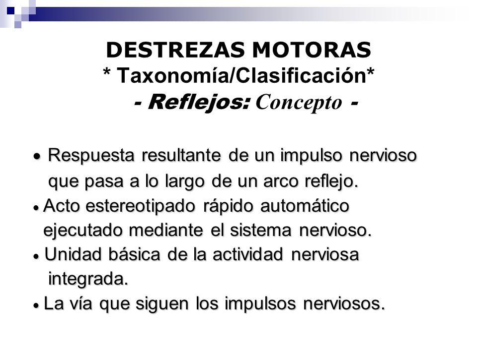 DESTREZAS MOTORAS * Taxonomía/Clasificación* - Reflejos: Concepto -