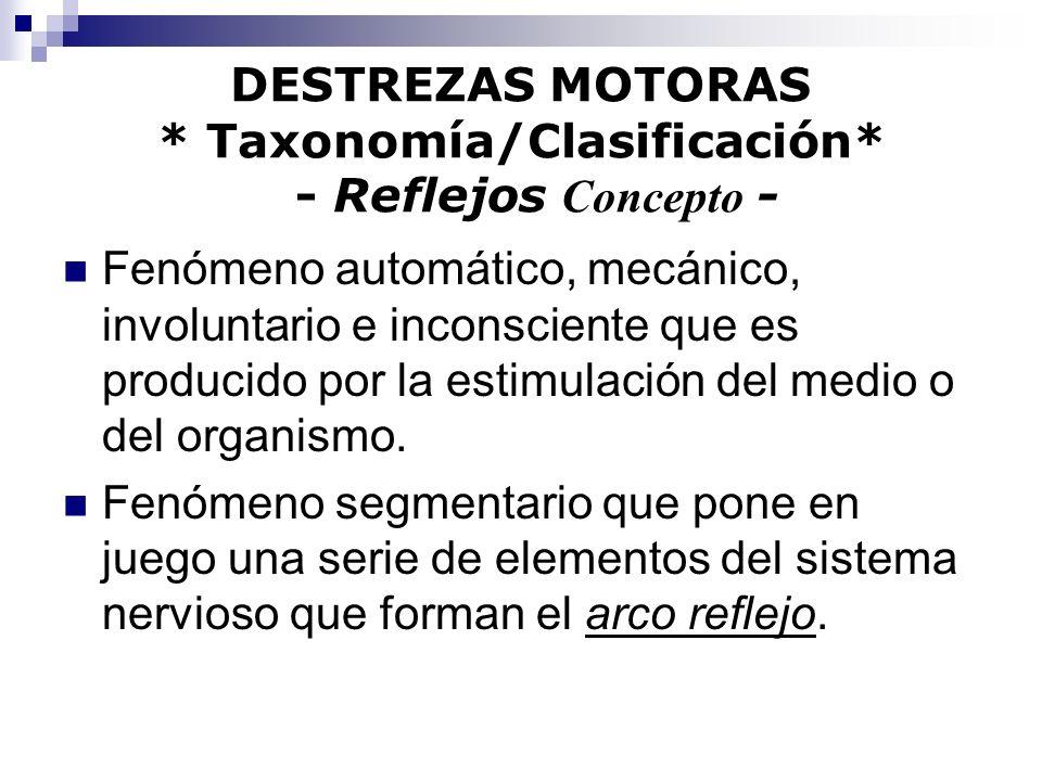 DESTREZAS MOTORAS * Taxonomía/Clasificación* - Reflejos Concepto -