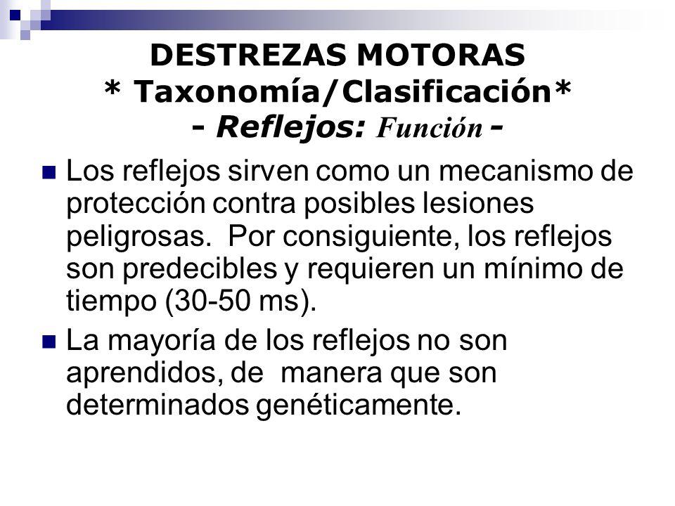 DESTREZAS MOTORAS * Taxonomía/Clasificación* - Reflejos: Función -
