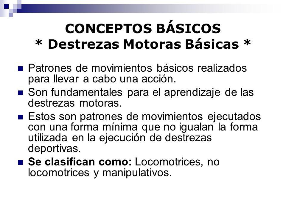 CONCEPTOS BÁSICOS * Destrezas Motoras Básicas *