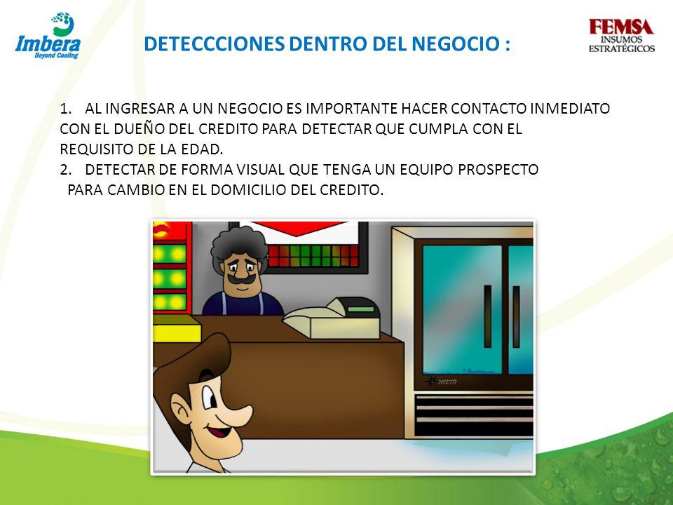 DETECCCIONES DENTRO DEL NEGOCIO :