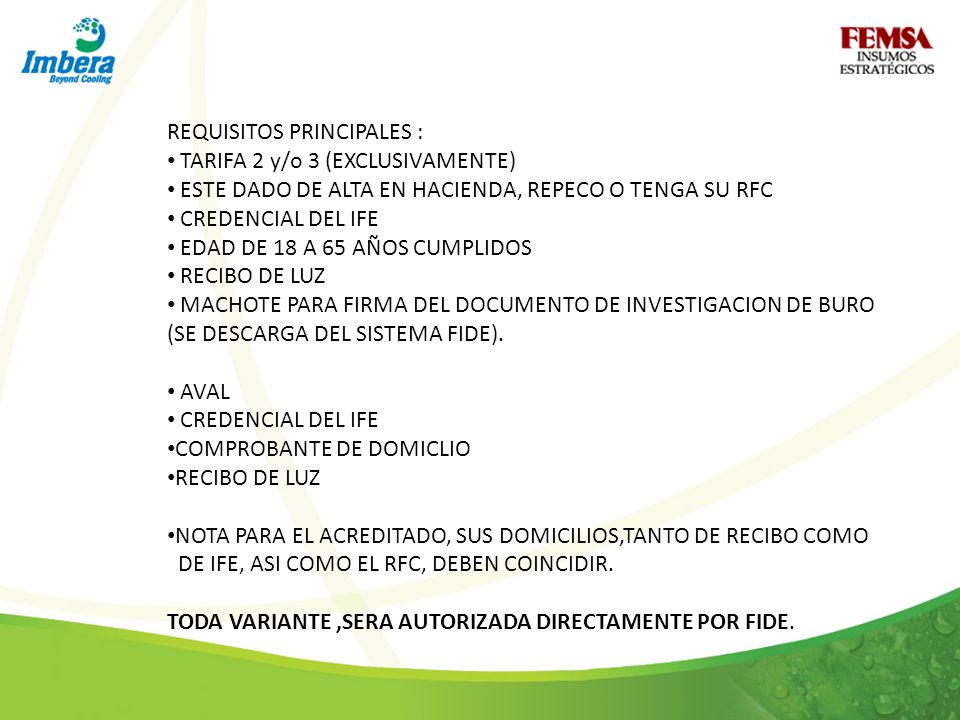 REQUISITOS PRINCIPALES :
