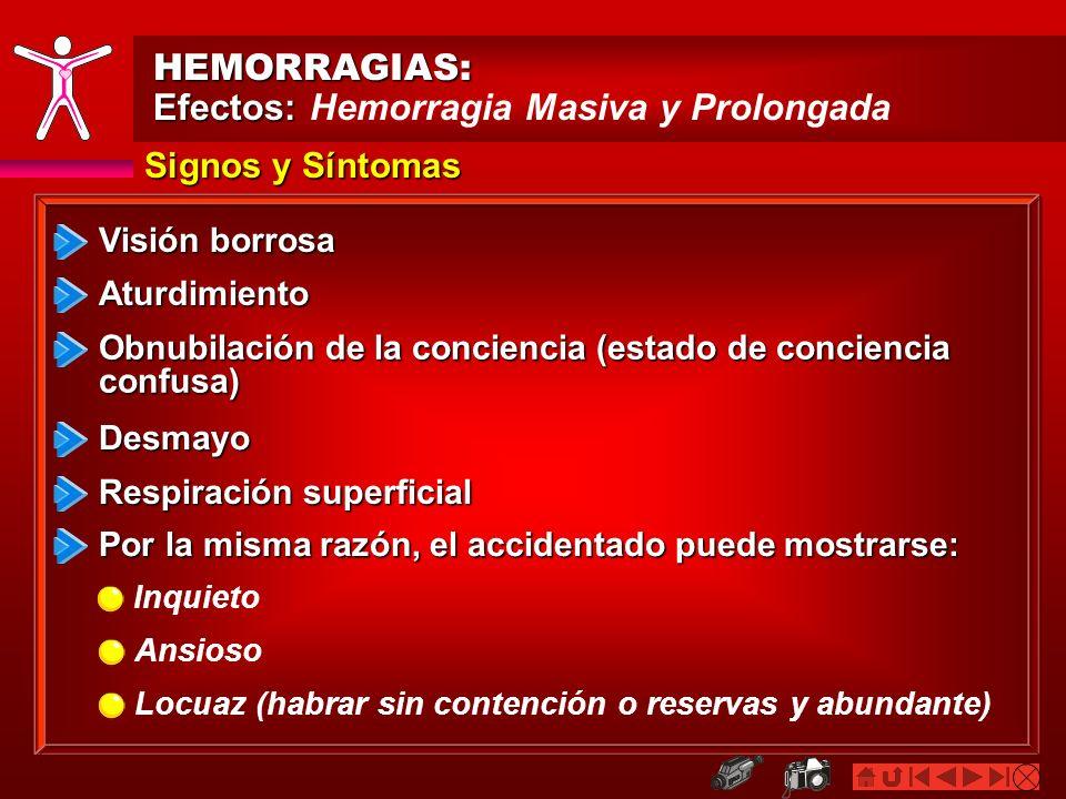 Efectos: Hemorragia Masiva y Prolongada