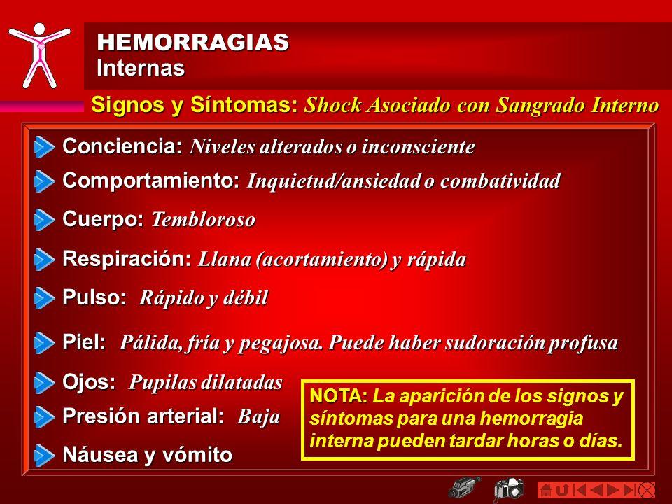 HEMORRAGIASInternas. Signos y Síntomas: Shock Asociado con Sangrado Interno. Conciencia: Niveles alterados o inconsciente.