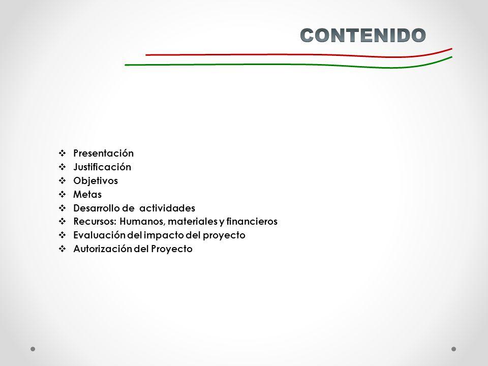 CONTENIDO Presentación Justificación Objetivos Metas