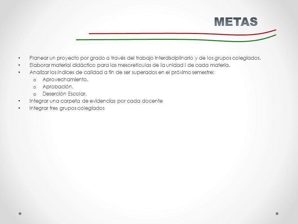 METAS Planear un proyecto por grado a través del trabajo interdisciplinario y de los grupos colegiados.