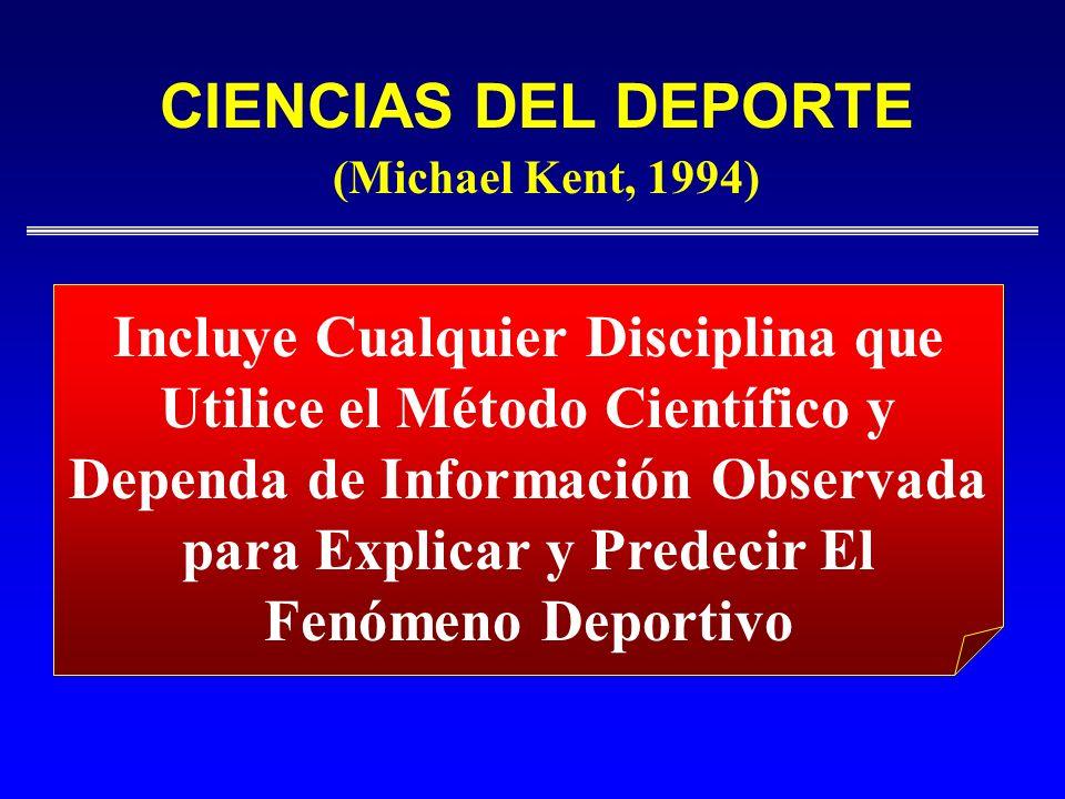 CIENCIAS DEL DEPORTE(Michael Kent, 1994) Incluye Cualquier Disciplina que Utilice el Método Científico y.