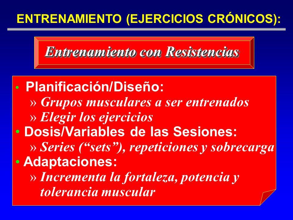 ENTRENAMIENTO (EJERCICIOS CRÓNICOS): Entrenamiento con Resistencias