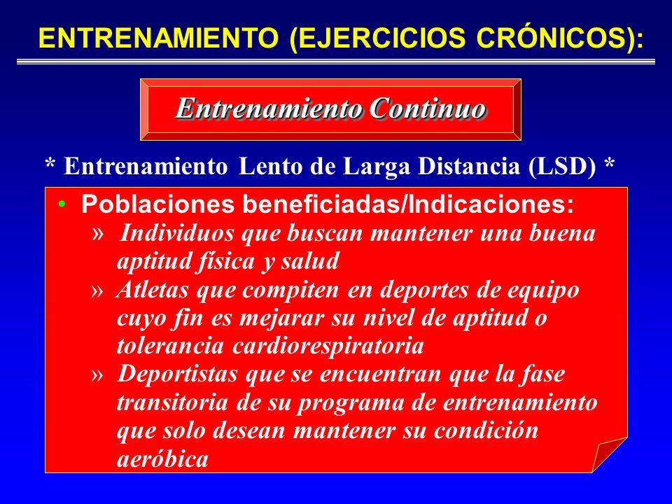 ENTRENAMIENTO (EJERCICIOS CRÓNICOS):