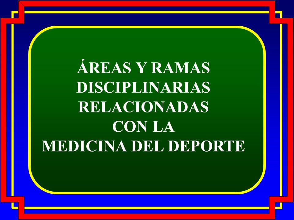 ÁREAS Y RAMAS DISCIPLINARIAS RELACIONADAS CON LA MEDICINA DEL DEPORTE