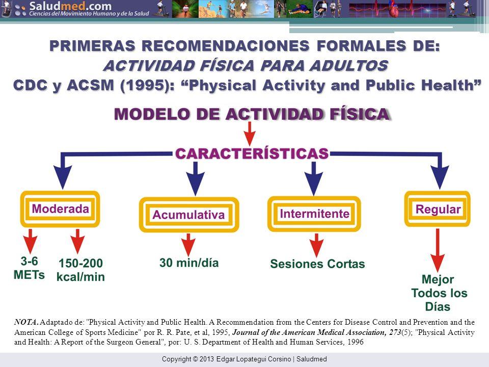 PRIMERAS RECOMENDACIONES FORMALES DE: ACTIVIDAD FÍSICA PARA ADULTOS CDC y ACSM (1995): Physical Activity and Public Health