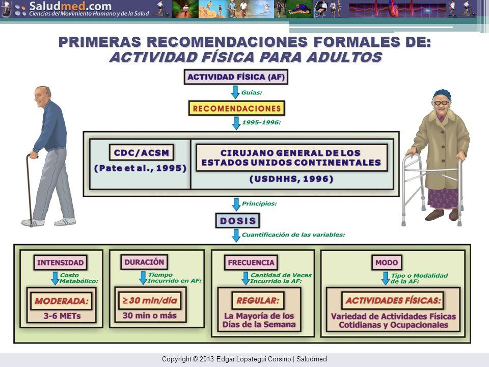PRIMERAS RECOMENDACIONES FORMALES DE: ACTIVIDAD FÍSICA PARA ADULTOS