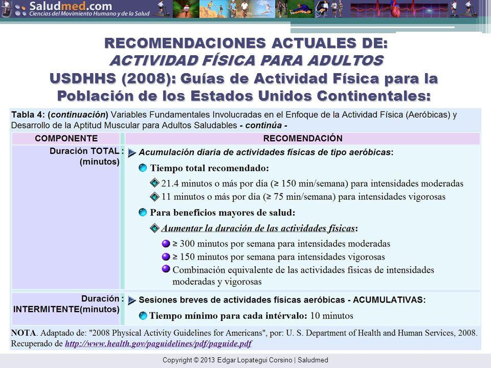 RECOMENDACIONES ACTUALES DE: ACTIVIDAD FÍSICA PARA ADULTOS