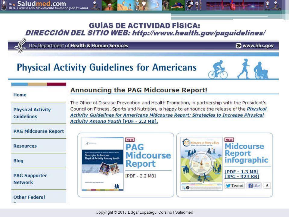 GUÍAS DE ACTIVIDAD FÍSICA: DIRECCIÓN DEL SITIO WEB: http://www. health