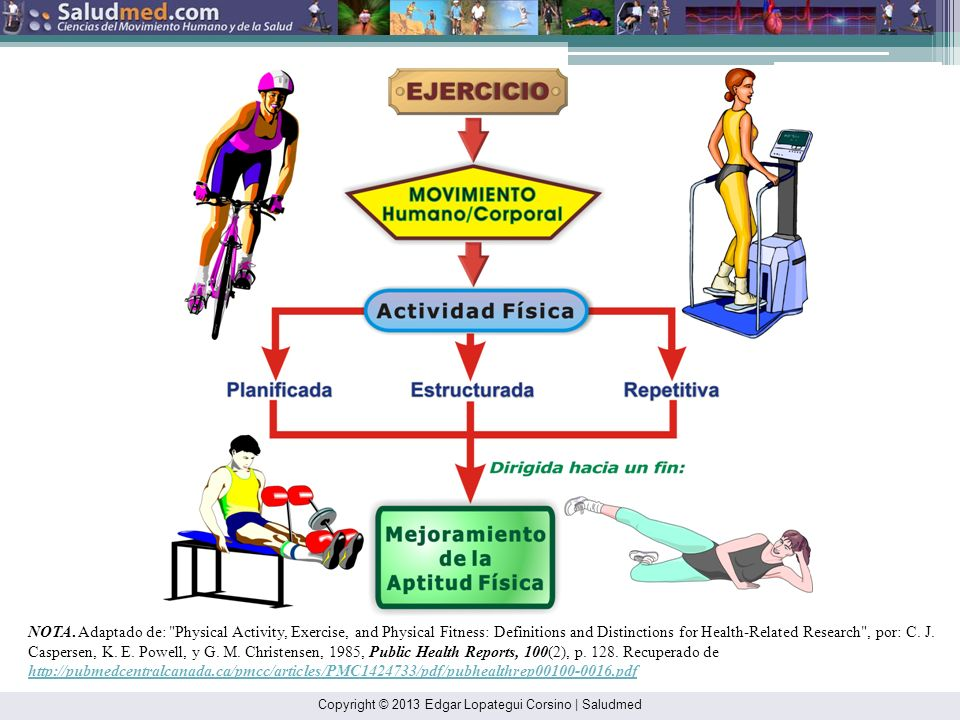 NOTA. Adaptado de: Physical Activity, Exercise, and Physical Fitness: Definitions and Distinctions for Health-Related Research , por: C. J. Caspersen, K. E. Powell, y G. M. Christensen, 1985, Public Health Reports, 100(2), p. 128. Recuperado de http://pubmedcentralcanada.ca/pmcc/articles/PMC1424733/pdf/pubhealthrep00100-0016.pdf
