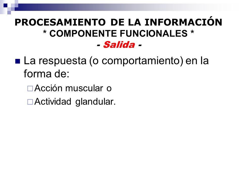 PROCESAMIENTO DE LA INFORMACIÓN * COMPONENTE FUNCIONALES * - Salida -