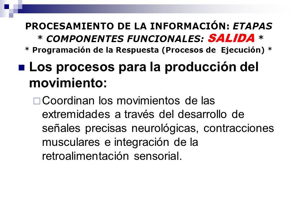 Los procesos para la producción del movimiento: