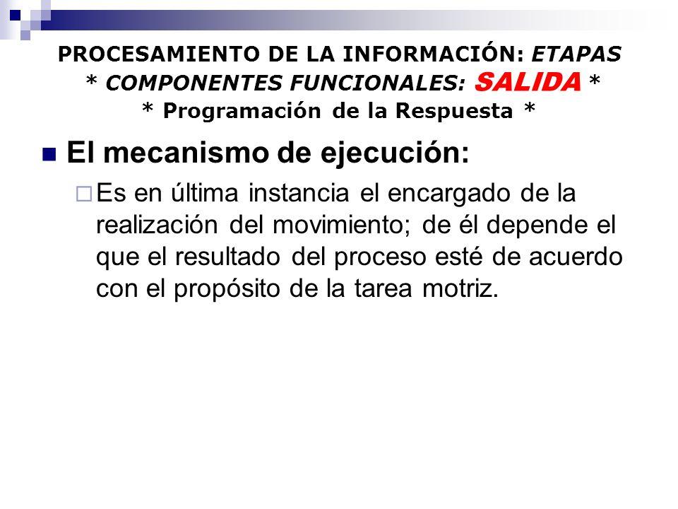 El mecanismo de ejecución: