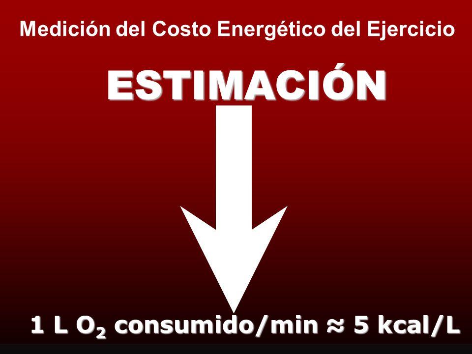 1 L O2 consumido/min ≈ 5 kcal/L