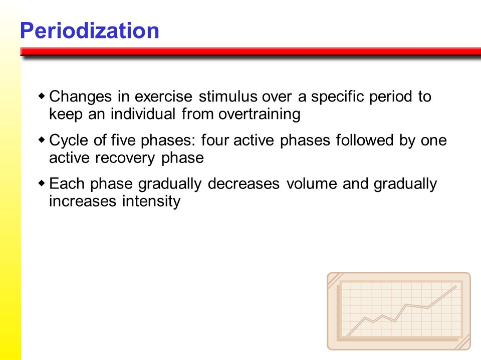 Periodizationw Changes in exercise stimulus over a specific period to keep an individual from overtraining.