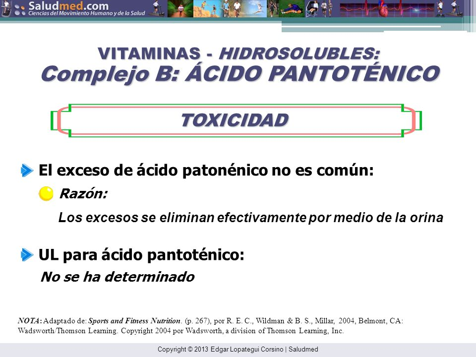 VITAMINAS - HIDROSOLUBLES: Complejo B: ÁCIDO PANTOTÉNICO