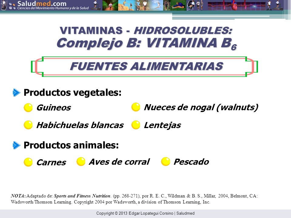 VITAMINAS - HIDROSOLUBLES: Complejo B: VITAMINA B6