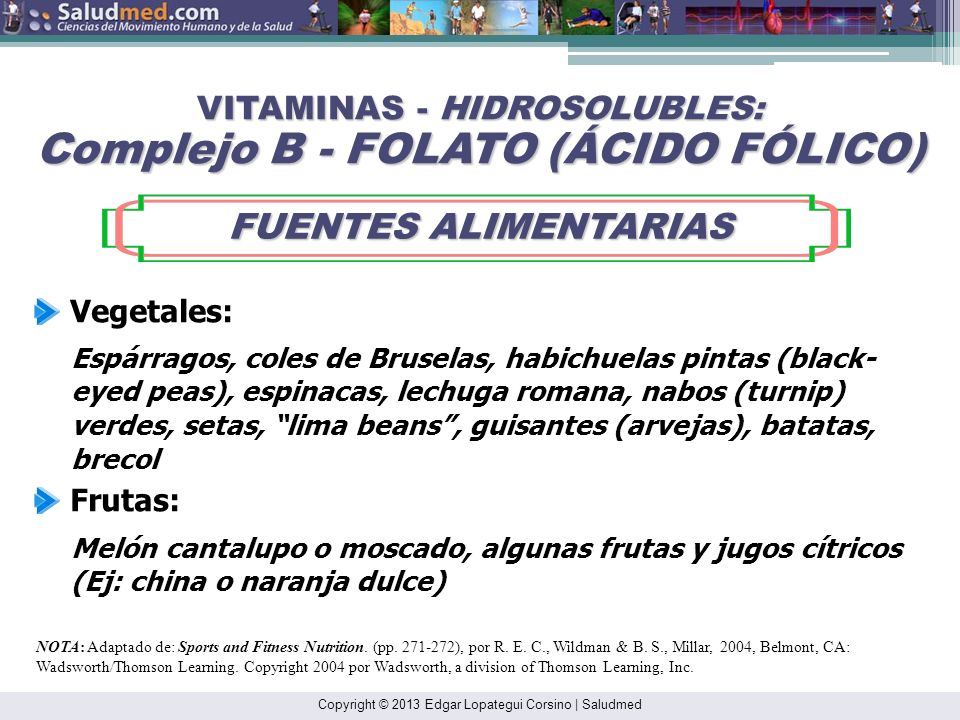 VITAMINAS - HIDROSOLUBLES: Complejo B - FOLATO (ÁCIDO FÓLICO)