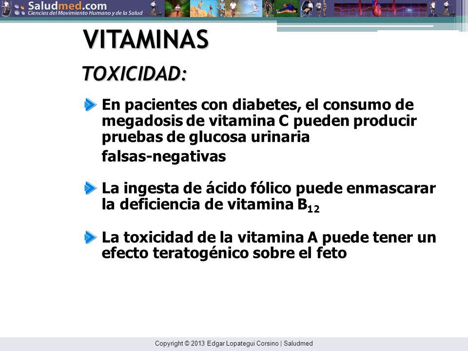 VITAMINASTOXICIDAD: En pacientes con diabetes, el consumo de megadosis de vitamina C pueden producir pruebas de glucosa urinaria.