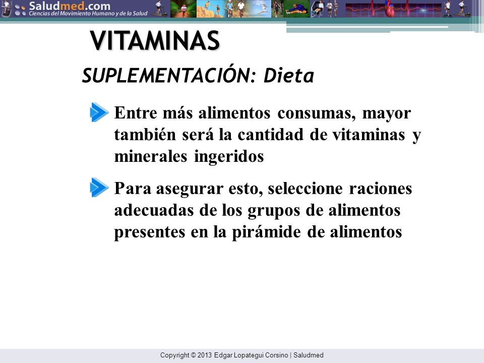VITAMINAS SUPLEMENTACIÓN: Dieta