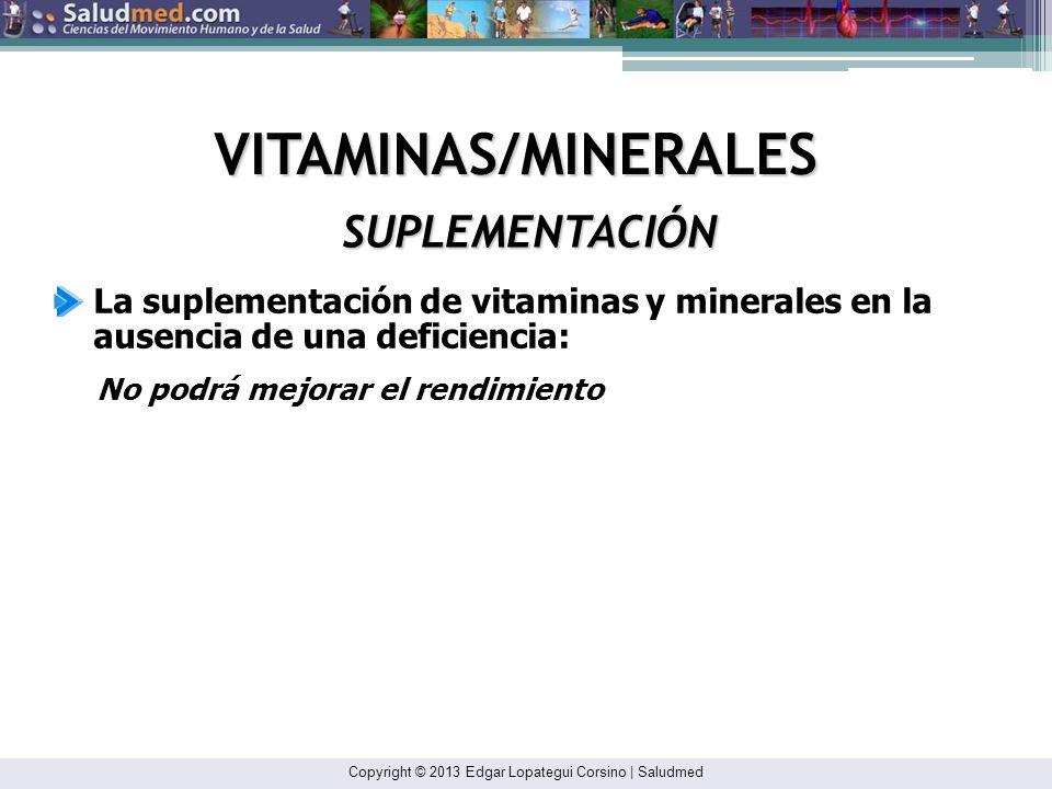 VITAMINAS/MINERALES SUPLEMENTACIÓN