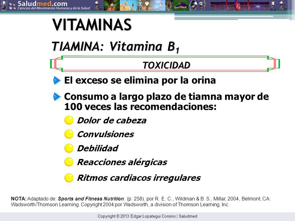 VITAMINAS TIAMINA: Vitamina B1 TOXICIDAD