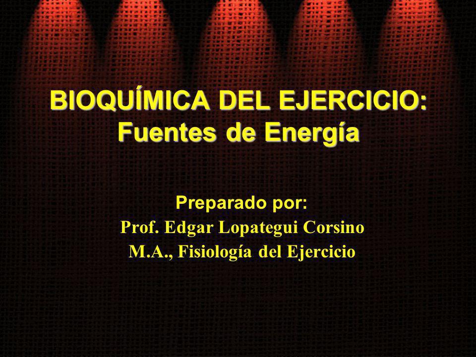 BIOQUÍMICA DEL EJERCICIO: Fuentes de Energía