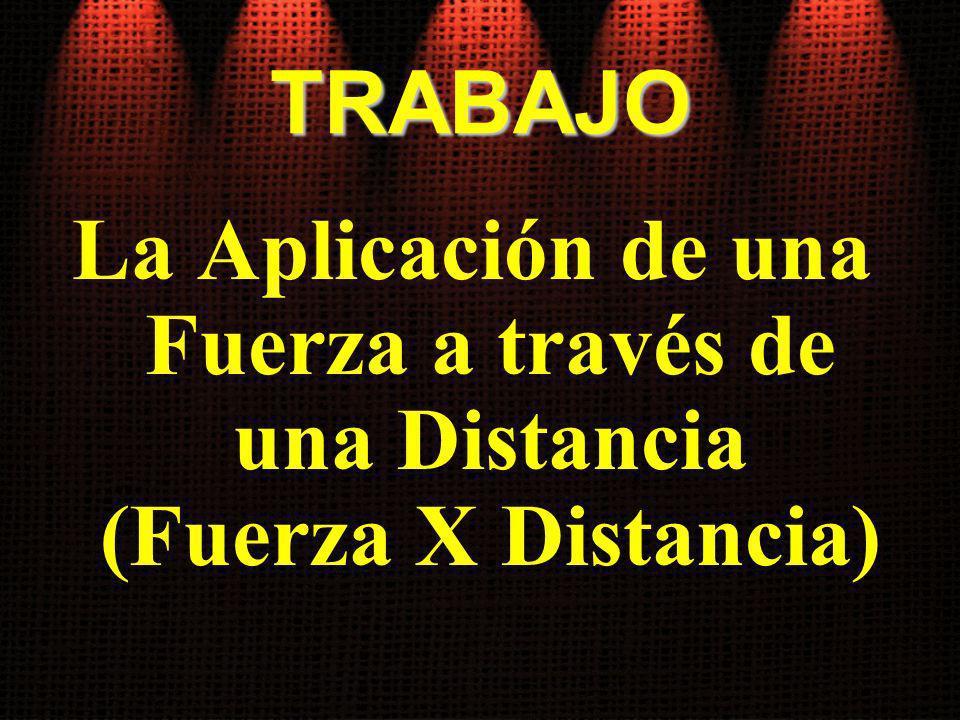 TRABAJO La Aplicación de una Fuerza a través de una Distancia (Fuerza X Distancia)