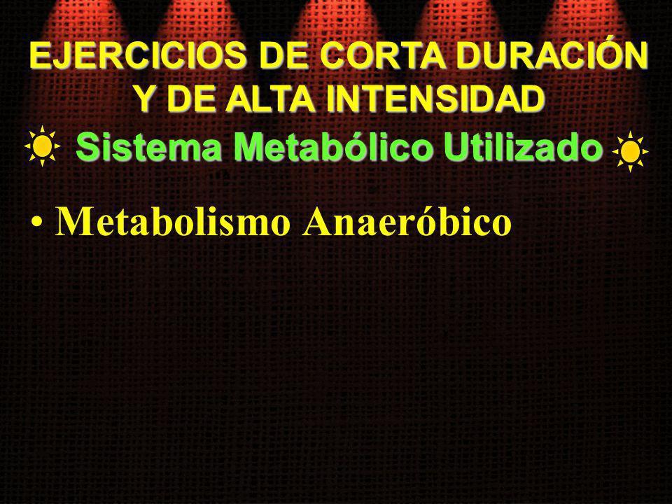 EJERCICIOS DE CORTA DURACIÓN Sistema Metabólico Utilizado