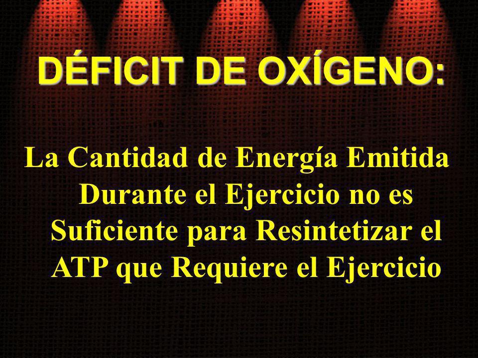 DÉFICIT DE OXÍGENO: La Cantidad de Energía Emitida Durante el Ejercicio no es Suficiente para Resintetizar el ATP que Requiere el Ejercicio.
