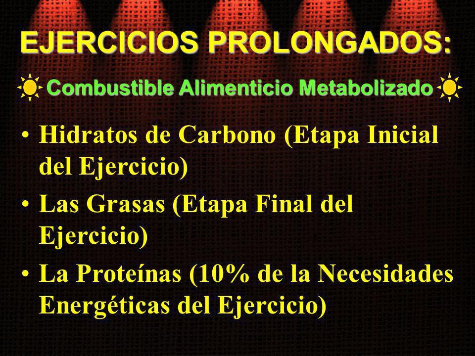 EJERCICIOS PROLONGADOS: Combustible Alimenticio Metabolizado