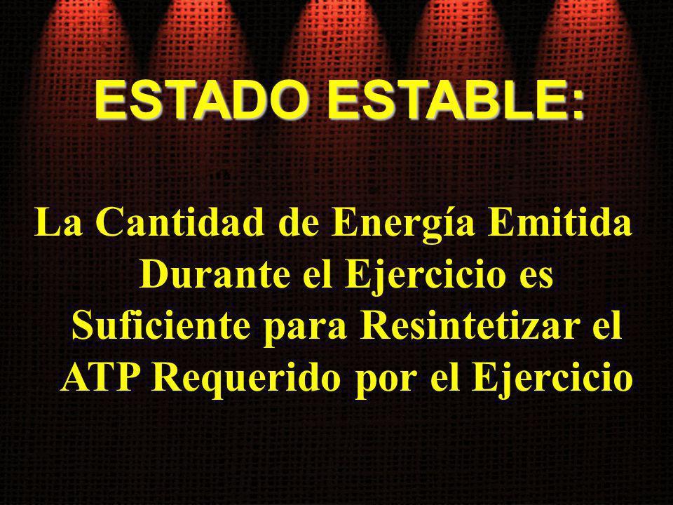 ESTADO ESTABLE: La Cantidad de Energía Emitida Durante el Ejercicio es Suficiente para Resintetizar el ATP Requerido por el Ejercicio.